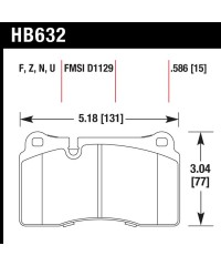 Колодки тормозные HAWK Perfomance FRONT - HPS-HB632Z.586